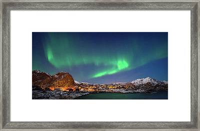 Aurora Borealis Above Stamsund Framed Print by Panoramic Images