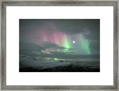 Aurora Borealis And Jupiter Framed Print by Tommy Eliassen