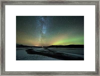 Aurora Borealis And Orionids Framed Print