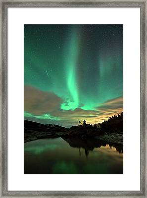 Aurora Borealis And Quadrantids Framed Print