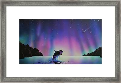 Aurora Borealis And Whale Framed Print