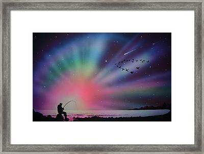 Aurora Borealis Gone Fishing Framed Print