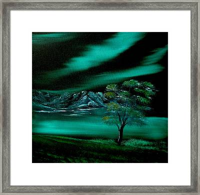 Aurora Borealis In Oils. Framed Print by Cynthia Adams