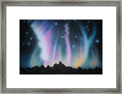 Aurora Borealis In The Rockies Framed Print