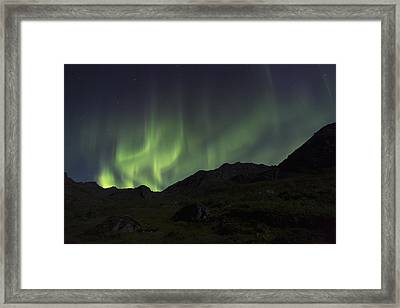 Aurora Borealis Northern Lights Dancing Framed Print by Lucas Payne