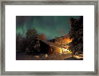 Aurora Borealis Northern Lights Over Framed Print by Lucas Payne