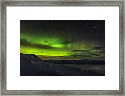 Aurora Borealis Or Northern Lights Seen Framed Print