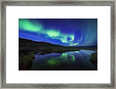 Aurora Borealis Over A Pond In Denali Framed Print by Carl Johnson