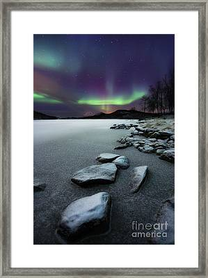 Aurora Borealis Over Sandvannet Lake Framed Print