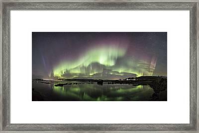 Aurora Borealis Panorama Framed Print by Frank Olsen