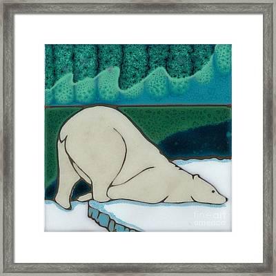 Aurora Borealis Polar Bear Framed Print by Elany  Prusa