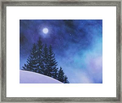 Aurora Borealis Winter Framed Print by Cecilia Brendel