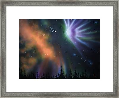 Aurora Borealis With 4 Shooting Stars Framed Print