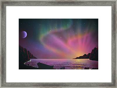 Aurora Borealis With Lobster Cage Framed Print