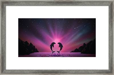 Aurora Borealis With Two Dolphins Framed Print