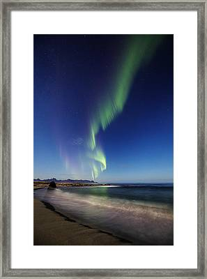 Aurora By The Beach Framed Print