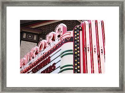 Aurora Theater Marquee Framed Print