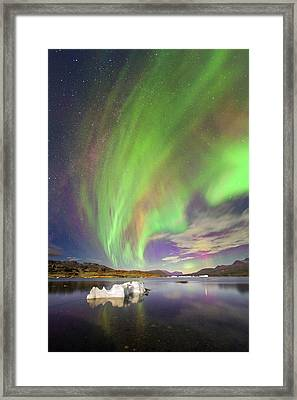 Aurora Over Iceberg Greenland Framed Print by Juan Carlos Casado (starryearth.com)