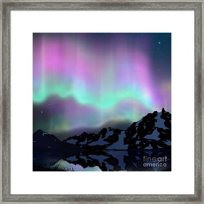 Aurora Over Lake Framed Print by Atiketta Sangasaeng