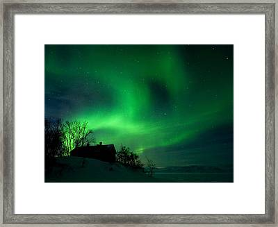 Aurora Over Lake Tornetrask Framed Print by Max Waugh
