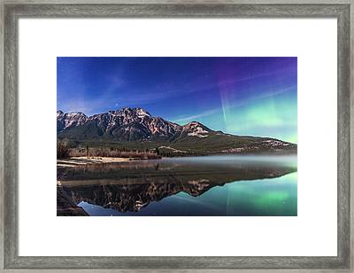 Aurora Over Pyramid Mountain Framed Print by Alan Dyer