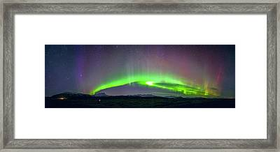 Aurora Panorama In Iceland Framed Print