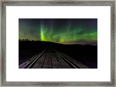 Aurora Railroad Tracks Framed Print by Sam Amato