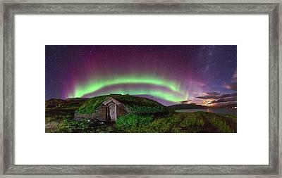 Auroral Over Viking House Framed Print by Juan Carlos Casado (starryearth.com)