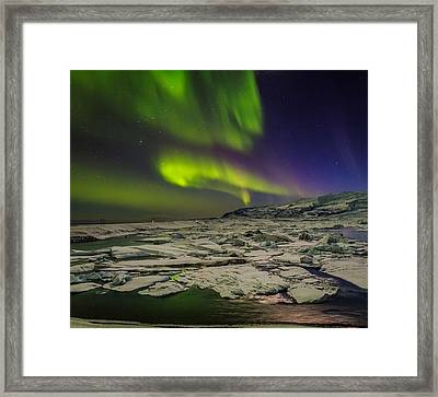 Auroras And Icebergs At The Glacial Framed Print by Panoramic Images