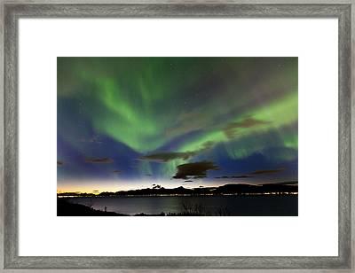 Auroras At Sortland Strait Framed Print