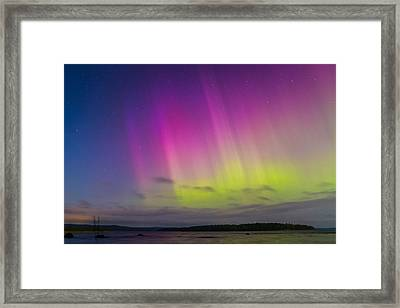 Auroras Over A Lake Framed Print by Janne Mankinen