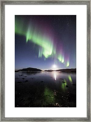 Auroras With The Moon Framed Print by Frank Olsen