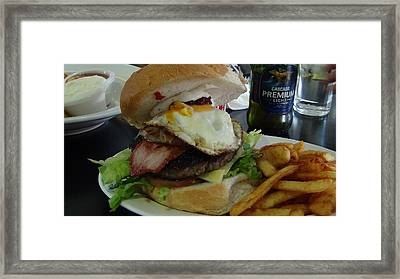 Framed Print featuring the photograph Aussi Burger by Tony Mathews