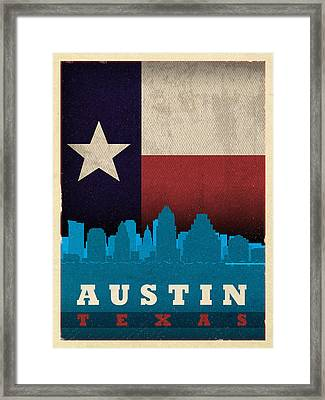 Austin City Skyline State Flag Of Texas Art Poster Series 010 Framed Print by Design Turnpike