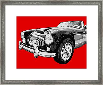 Austin Healey 3000 On Red  Framed Print by Lance Vaughn