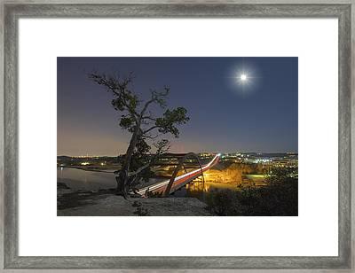 Austin Images - Full Moon Setting Over The 360 Bridge 2 Framed Print