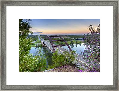 Austin Images - Pennybacker Bridge Looking West At Sunrise Framed Print by Rob Greebon