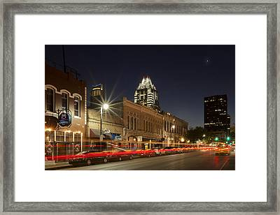 Austin Images - Sixth Street And The Austin Skyline 2 Framed Print by Rob Greebon