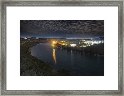 The 360 Bridge And Austin Texas Lit By The Full Moon Framed Print