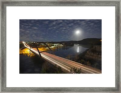 Austin Images - Full Moon Setting Over The 360 Bridge Framed Print