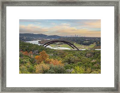 Austin Images - Pennybacker Bridge And The Austin Skyline Showin Framed Print