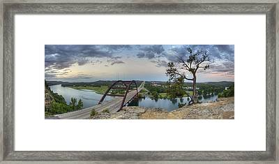 Austin Images - Pennybacker Bridge Panorama On A June Sunrise Framed Print by Rob Greebon