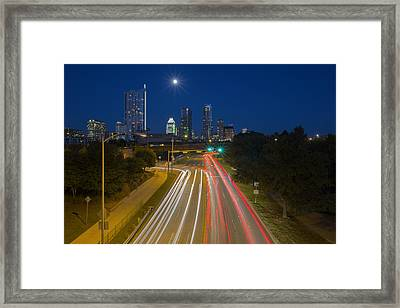 Texas Images - The Austin Skyline And City Traffic Framed Print by Rob Greebon