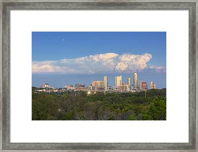 Downtown Austin Under A Thunderhead Framed Print by Rob Greebon
