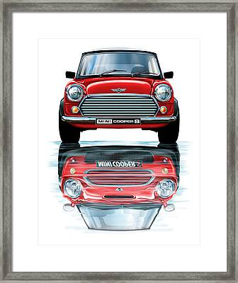 Austin Mini Cooper With New Bmw Mini Cooper Reflected Framed Print by David Kyte