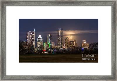Austin Skyline Moonrise Framed Print