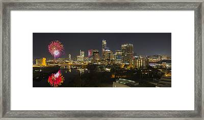 Fireworks And The Austin Skyline On New Year's Eve Framed Print by Rob Greebon