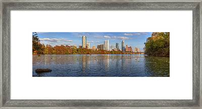 Panorama Image Of The Austin Skyline In Autumn Framed Print