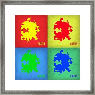 Austin Pop Art Map 1 Framed Print by Naxart Studio