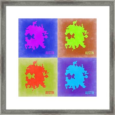 Austin Pop Art Map 2 Framed Print by Naxart Studio